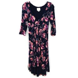 Maeve Anthropologie Floral Print Ruched Dress